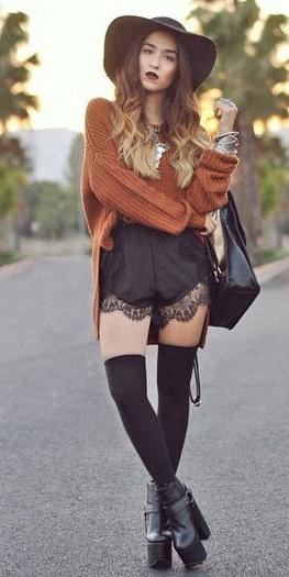black-romper-jumper-camel-sweater-lace-hairr-bib-necklace-socks-black-shoe-booties-black-bag-hat-fall-winter-weekend.jpg