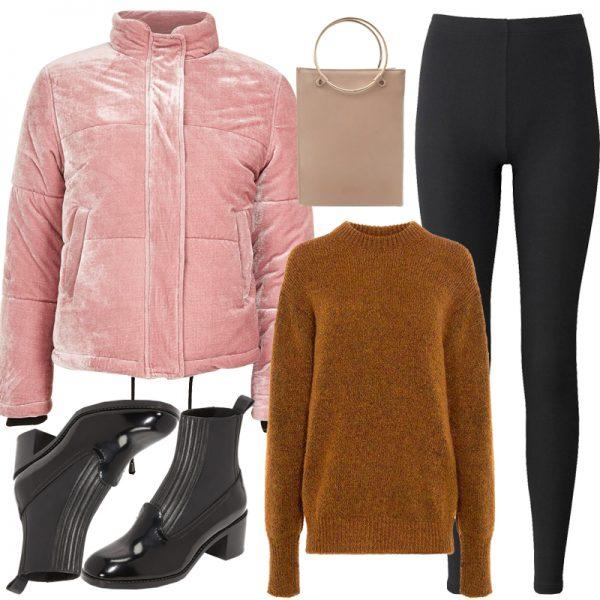 black-leggings-camel-sweater-black-shoe-booties-tan-bag-velvet-pink-light-jacket-coat-puffer-fall-winter-lunch.jpg