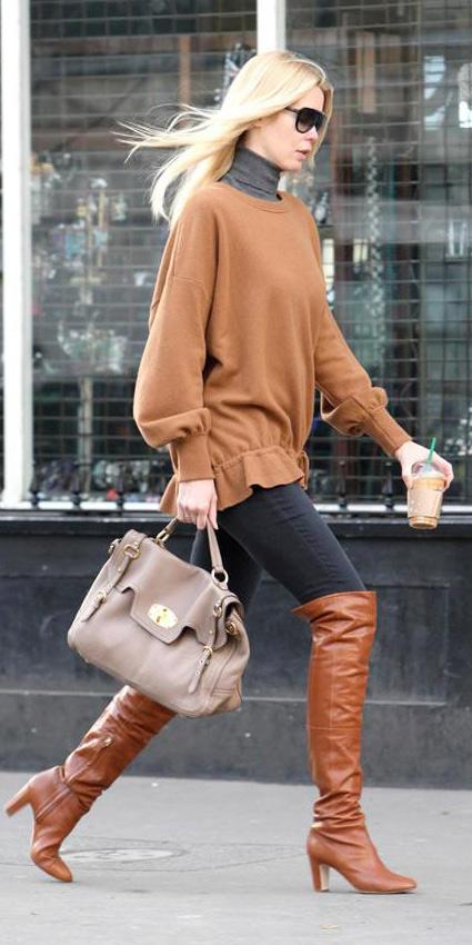 black-skinny-jeans-camel-sweater-tunic-grayd-tee-turtleneck-sun-fall-winter-tan-bag-claudiaschiffer-cognac-shoe-boots-blonde-lunch.jpg