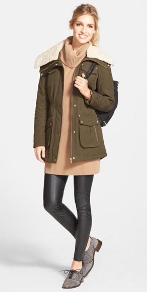 black-leggings-o-camel-sweater-black-bag-bun-wear-style-fashion-fall-winter-green-olive-jacket-coat-army-gray-shoe-brogues-blonde-weekend.jpg