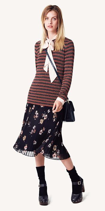 camel-sweater-stripe-layer-peach-top-blouse-blonde-fall-winter-socks-black-shoe-pumps-maryjane-floral-print-lunch.jpg