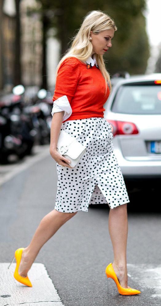 white-pencil-skirt-dot-print-orange-sweater-white-collared-shirt-blonde-white-bag-yellow-shoe-pumps-spring-summer-lunch.jpg