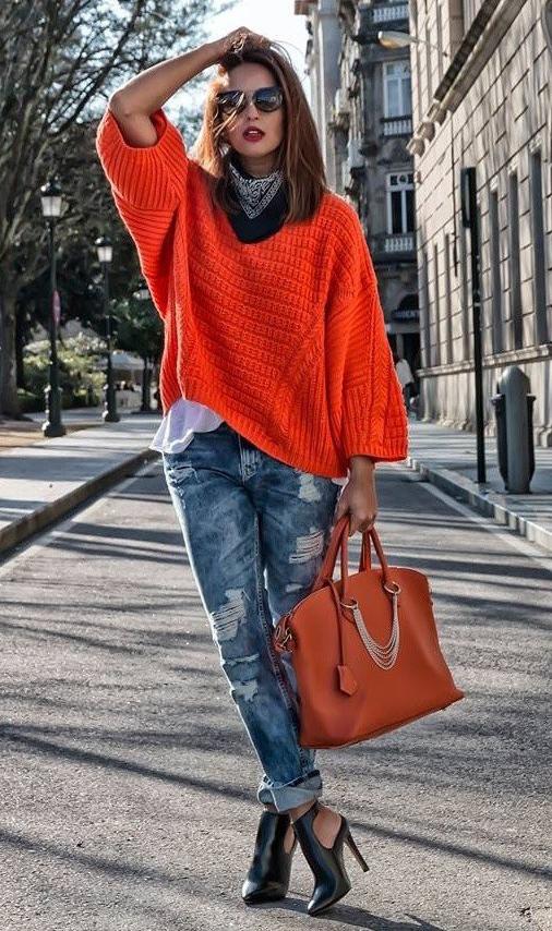 blue-med-skinny-jeans-orange-bag-orange-sweater-black-scarf-neck-bandana-hairr-sun-black-shoe-booties-fall-winter-lunch.jpg