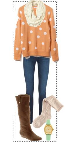 blue-med-skinny-jeans-orange-sweater-dot-print-white-scarf-socks-watch-brown-shoe-boots-fall-winter-weekend.jpg