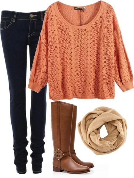 blue-navy-skinny-jeans-orange-sweater-tan-scarf-cognac-shoe-boots-fall-winter-weekend.jpg