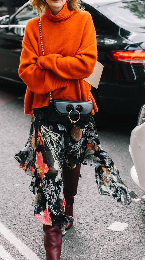 black-midi-skirt-floral-print-black-bag-orange-sweater-turtleneck-blonde-burgundy-shoe-boots-fall-winter-lunch.jpg