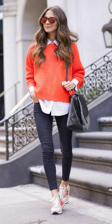 black-skinny-jeans-white-collared-shirt-orange-sweater-sun-hairr-black-bag-tan-shoe-sneakers-fall-winter-weekend.jpg