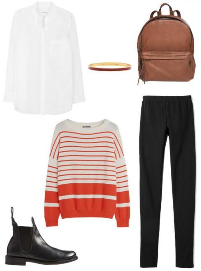 black-leggings-white-collared-shirt-wear-style-fashion-fall-winter-black-shoe-booties-orange-sweater-stripe-coganc-bag-pack-bracelet-lunch.jpg