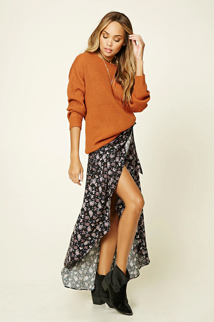 black-maxi-skirt-orange-sweater-print-choker-wear-style-fashion-spring-summer-black-shoe-booties-slit-hairr-weekend.jpg