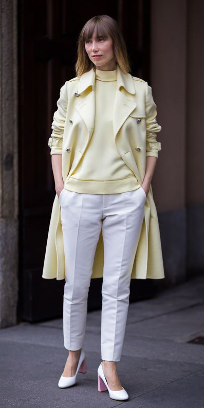 white-slim-pants-white-shoe-pumps-yellow-sweater-turtleneck-hairr-yellow-jacket-coat-trench-spring-summer-lunch.jpg