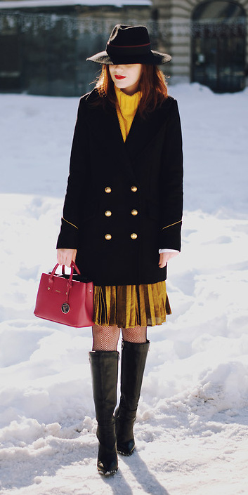 yellow-aline-skirt-pleated-gold-yellow-sweater-turtleneck-red-bag-black-jacket-coat-black-shoe-boots-hat-fall-winter-hairr-lunch.jpg