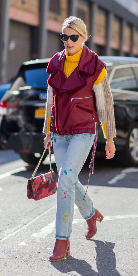 blue-light-skinny-jeans-red-vest-moto-yellow-sweater-turtleneck-bun-sun-red-shoe-booties-red-bag-fall-winter-blonde-lunch.jpg