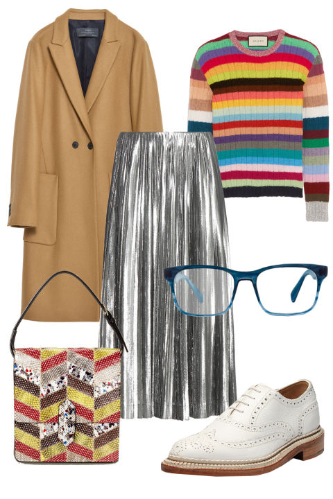grayl-midi-skirt-yellow-sweater-stripe-multi-yellow-bag-white-shoe-brogues-tan-jacket-coat-pleat-metallic-howtowear-fashion-style-outfit-fall-winter-holiday-lunch.jpg
