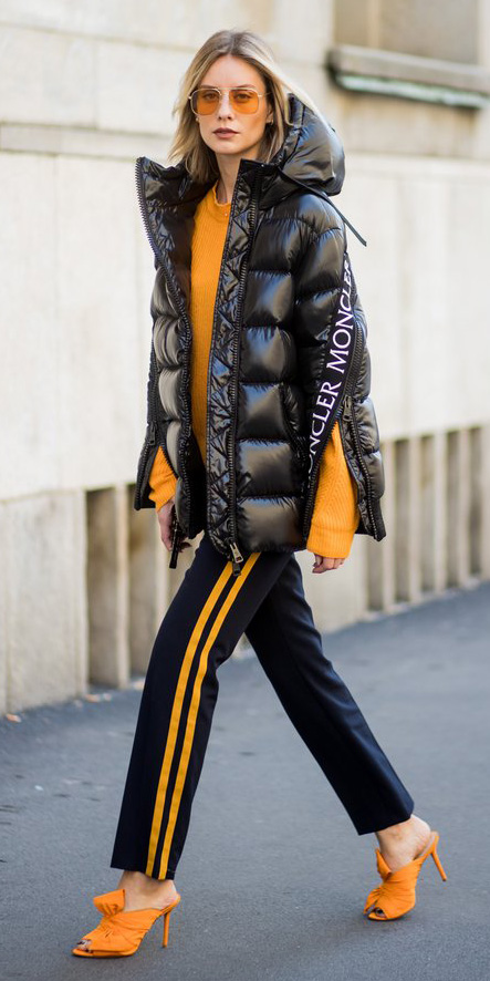 black-slim-pants-trackpants-yellow-sweater-sun-yellow-shoe-sandalh-black-jacket-coat-puffer-fall-winter-blonde-lunch.jpg