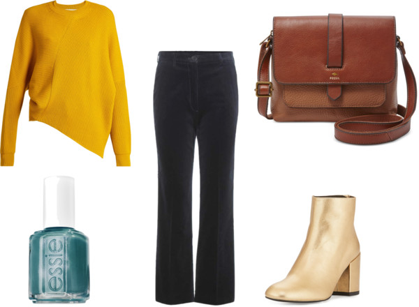 black-flare-jeans-yellow-sweater-tan-shoe-booties-gold-nail-brown-bag-fall-winter-lunch.jpg