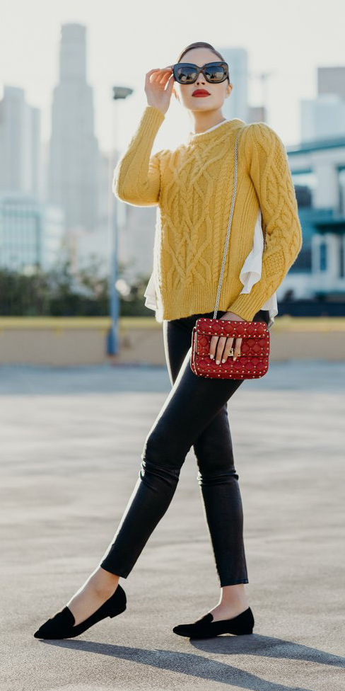 black-skinny-jeans-yellow-sweater-red-bag-sun-bun-black-shoe-loafers-oliviaculpo-fall-winter-hairr-lunch.jpg