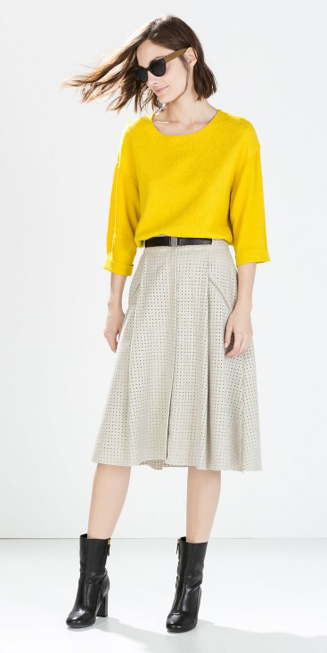 white-midi-skirt-yellow-sweater-belt-sun-wear-outfit-fall-winter-black-shoe-booties-fashion-hairr-lunch.jpg