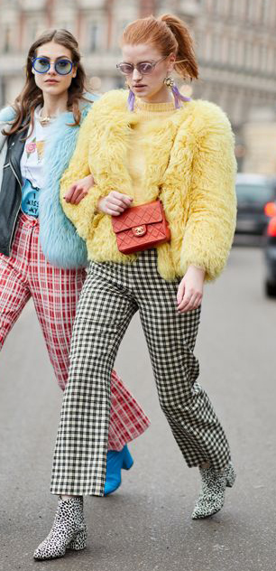white-culottes-pants-gingham-print-yellow-sweater-yellow-jacket-coat-fur-red-bag-white-shoe-booties-earrings-sun-pony-hairr-fall-winter-lunch.jpg