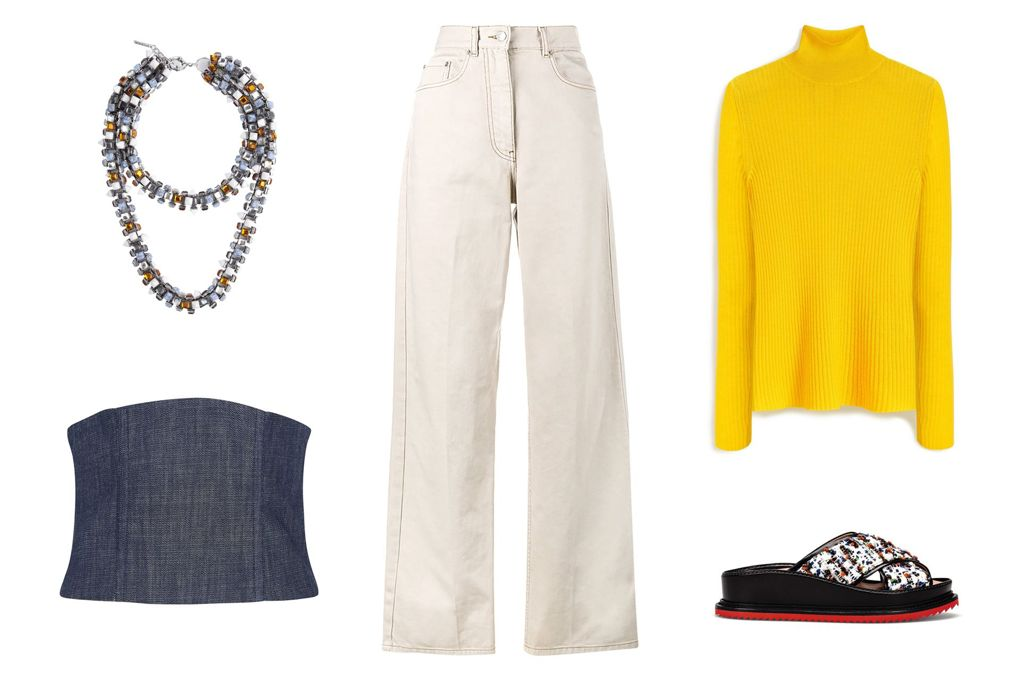 white-flare-jeans-yellow-sweater-turtleneck-blue-navy-bustier-layer-white-shoe-sandals-necklace-fall-winter-lunch.jpg