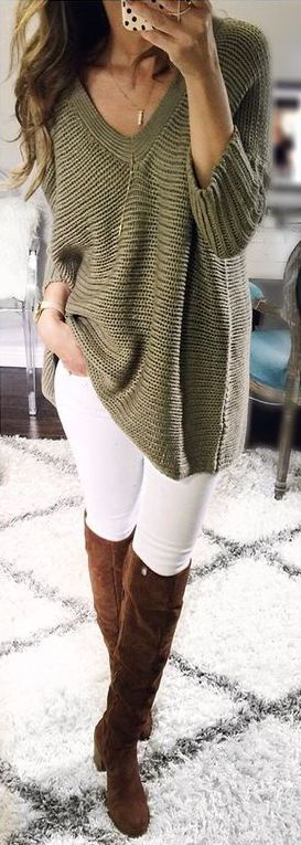 white-skinny-jeans-brown-shoe-boots-green-olive-sweater-fall-winter-weekend.jpg
