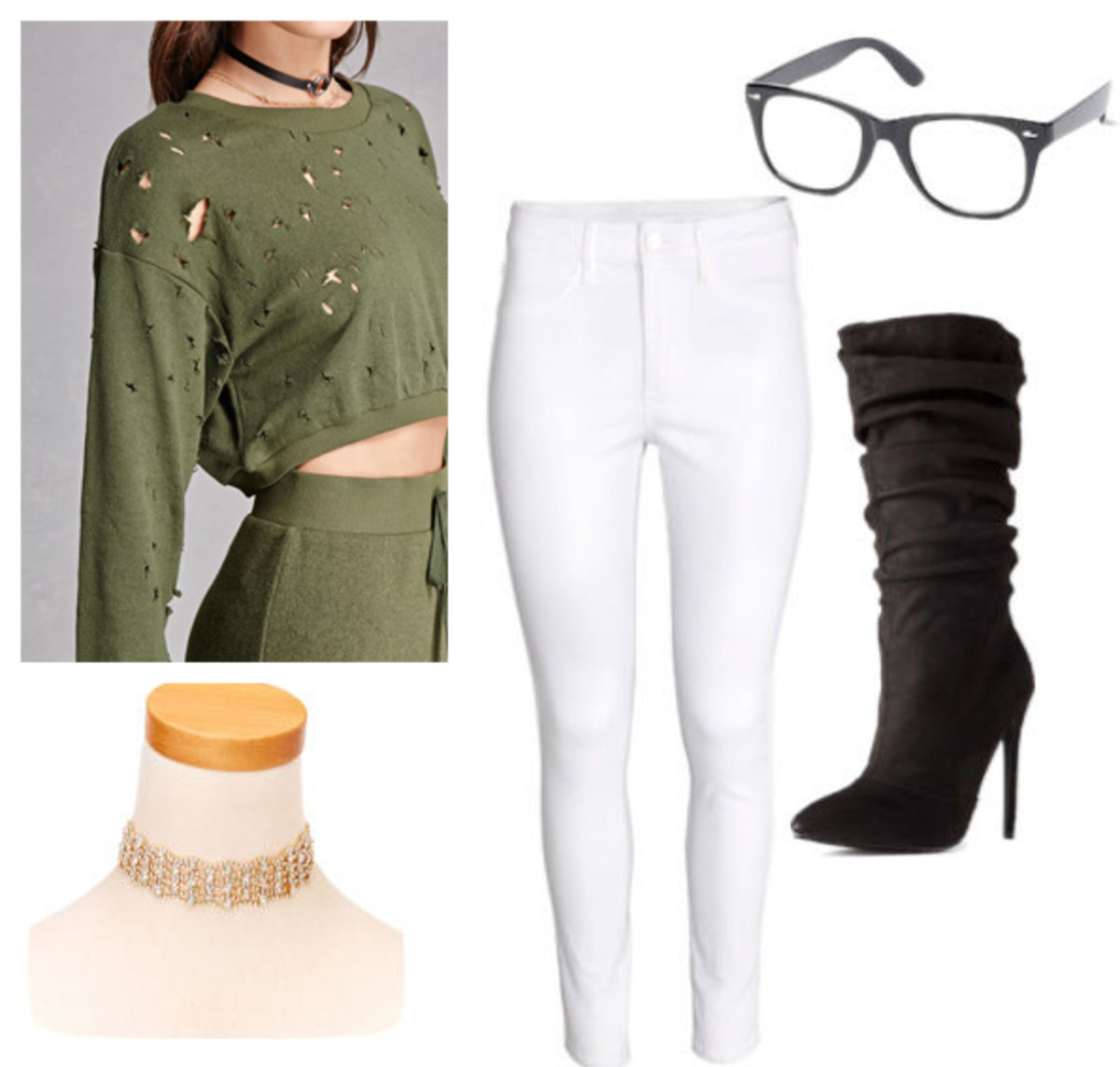 white-skinny-jeans-green-olive-sweater-sweatshirt-black-shoe-boots-choker-fall-winter-lunch.jpg