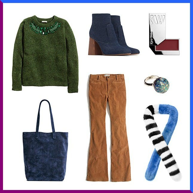 camel-flare-jeans-corduroy-blue-scarf-fur-blue-shoe-booties-blue-bag-tote-ring-green-olive-sweater-holiday-fall-winter-lunch.jpg