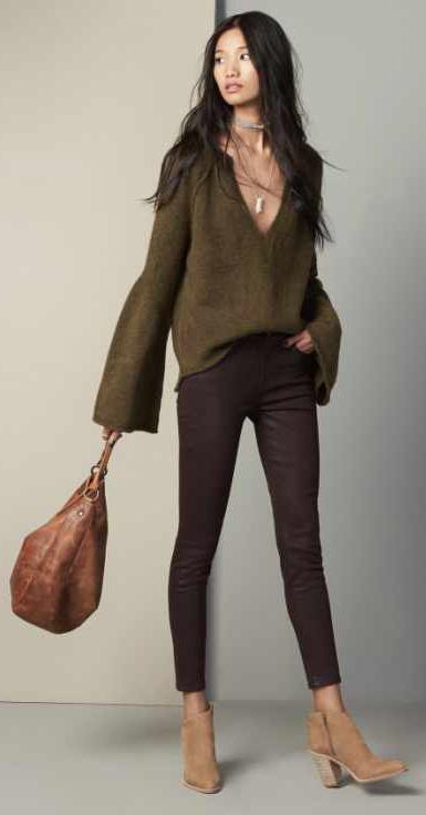 brown-skinny-jeans-green-olive-sweater-necklace-cognac-bag-tan-shoe-booties-howtowear-fall-winter-brun-lunch.jpg
