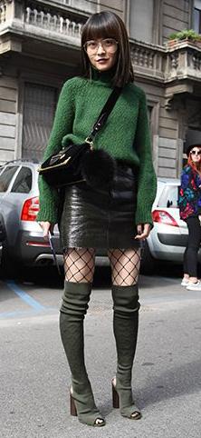 green-olive-sweater-turtleneck-black-tights-fishnet-green-shoe-boots-otk-black-bag-fall-winter-brun-lunch.jpg