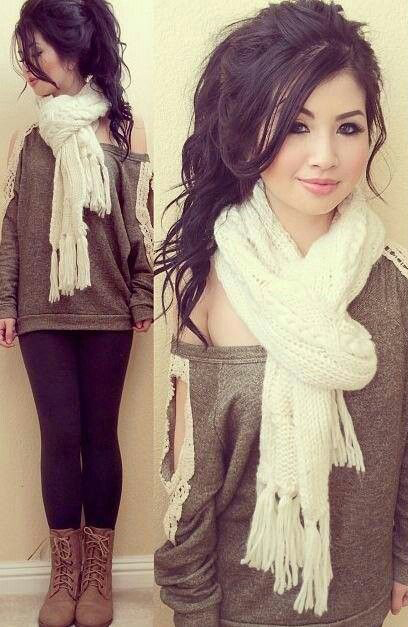 black-leggings-green-olive-sweater-white-scarf-pony-tan-shoe-booties-brun-howtowear-fashion-style-outfit-fall-winter-weekend.jpg