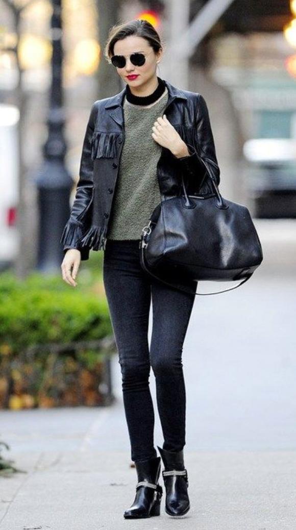 black-skinny-jeans-green-olive-sweater-howtowear-style-fashion-fall-winter-black-bag-black-shoe-booties-bun-sun-black-jacket-mirandakerr-celebrity-street-hairr-classic-lunch.jpg