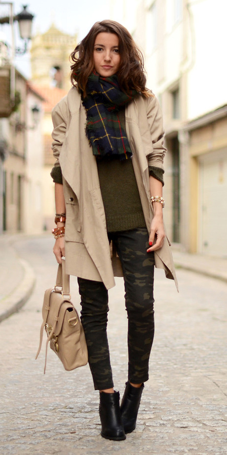 green-olive-skinny-jeans-camo-print-green-olive-sweater-blue-navy-scarf-plaid-tan-bag-bracelet-tan-jacket-coat-trench-black-shoe-booties-fall-winter-hairr-lunch.jpg