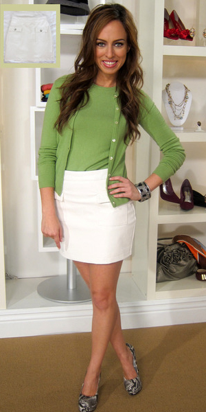 white-mini-skirt-green-emerald-sweater-sleeveless-green-emerald-cardigan-gray-shoe-pumps-hairr-spring-summer-lunch.jpg