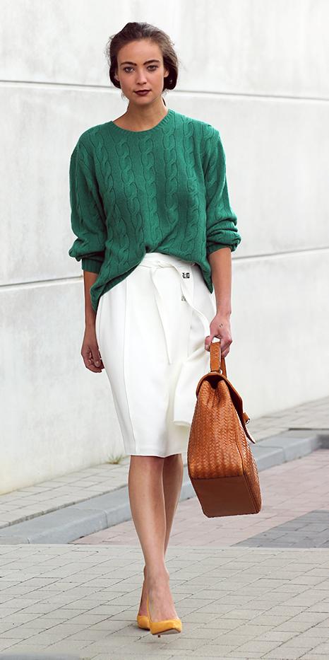 white-pencil-skirt-green-emerald-sweater-hairr-cognac-bag-yellow-shoe-pumps-fall-winter-work.jpg