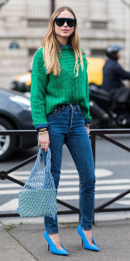 blue-med-skinny-jeans-green-emerald-sweater-blue-med-collared-shirt-blue-bag-blue-shoe-pumps-blonde-sun-fall-winter-lunch.jpg