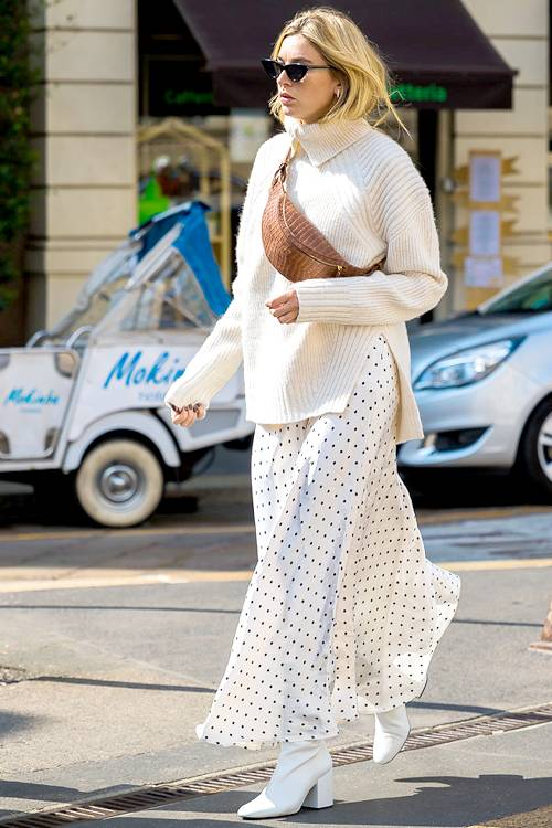 white-dress-maxi-polkadot-print-mono-white-sweater-turtleneck-blonde-sun-white-shoe-booties-fall-winter-lunch-cognac-bag-fannypack.jpg