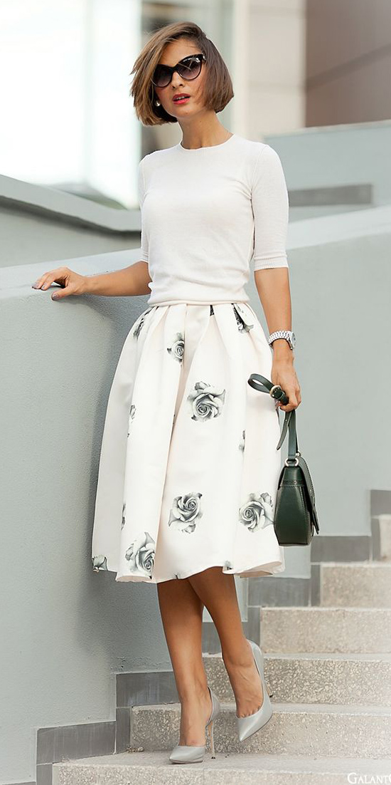 white-midi-skirt-floral-print-gray-shoe-pumps-sun-green-bag-white-sweater-spring-summer-hairr-work.jpg