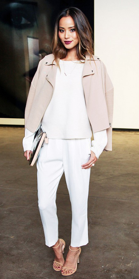 white-culottes-pants-white-sweater-pink-light-jacket-moto-brun-tan-shoe-sandalh-gray-bag-clutch-spring-summer-style-fashion-wear-jamiechung-matching-dinner.jpg
