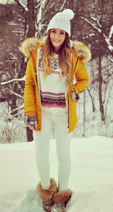 white-skinny-jeans-beanie-gloves-snow-tan-shoe-booties-print-white-sweater-hairr-yellow-jacket-coat-parka-fall-winter-outfit-weekend.jpg