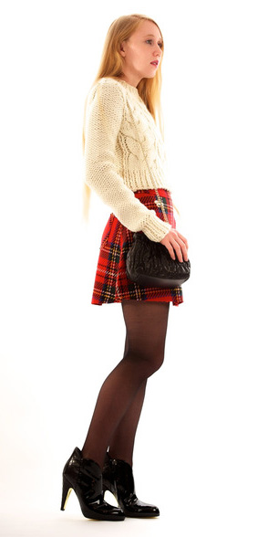 red-mini-skirt-white-sweater-plaid-print-black-tights-black-shoe-booties-black-bag-fall-winter-dinner.jpg