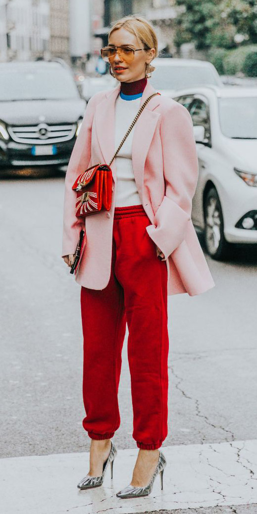 red-joggers-pants-white-sweater-pink-light-jacket-blazer-tonal-gray-shoe-pumps-red-bag-blonde-sun-spring-summer-lunch.jpg