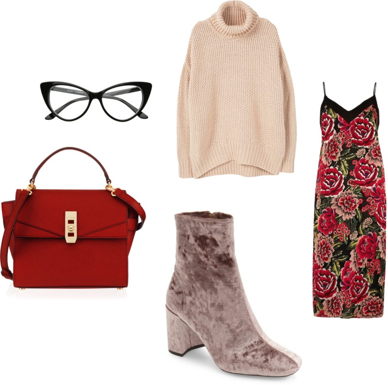 red-dress-slip-floral-print-red-bag-gray-shoe-booties-velvet-white-sweater-turtleneck-fall-winter-work.jpg