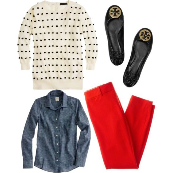 red-slim-pants-blue-med-collared-shirt-white-sweater-black-shoe-flats-dot-howtowear-fashion-style-outfit-fall-winter-chambray-work.jpg