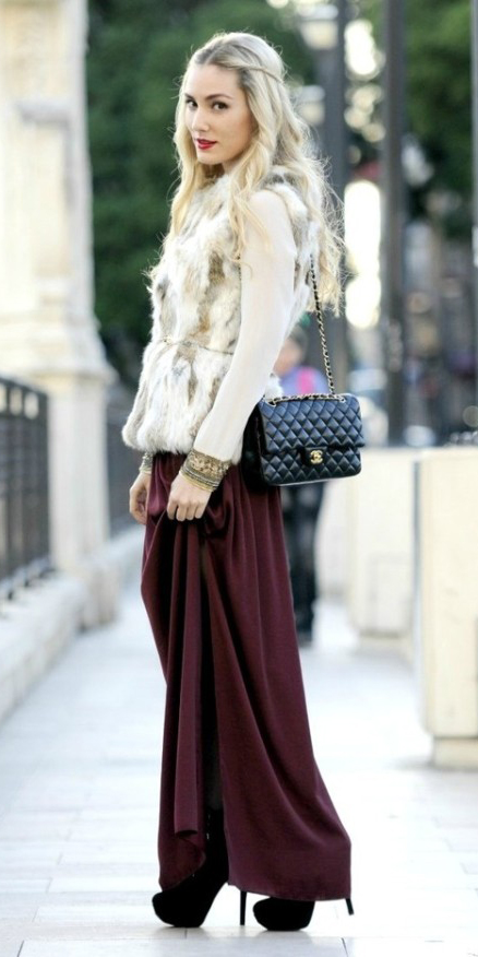 white-sweater-blonde-white-vest-fur-black-bag-black-shoe-pumps-burgundy-maxi-skirt-fall-winter-dinner.jpg