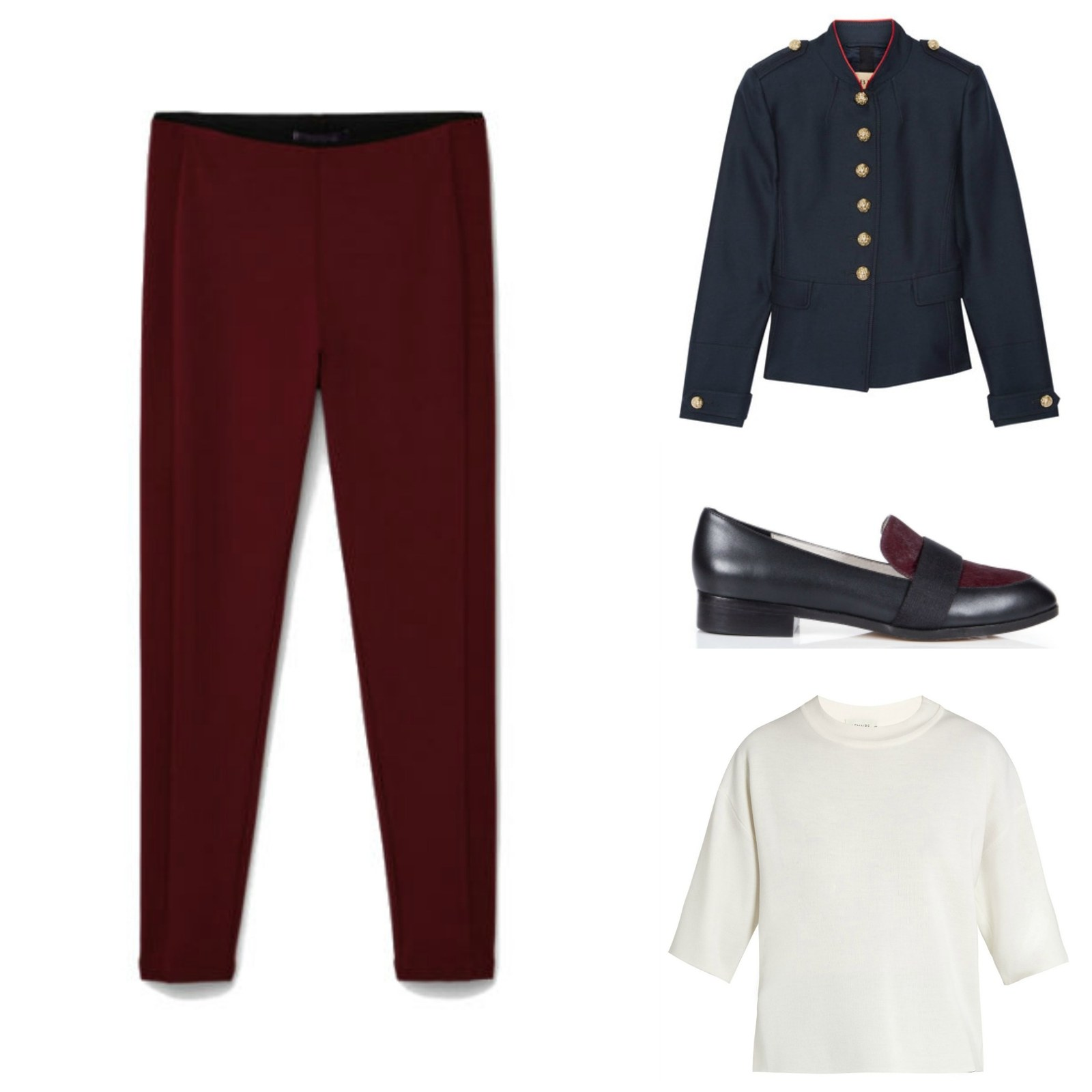 burgundy-leggings-black-jacket-blazer-black-shoe-loafers-white-sweater-fall-winter-office-work.jpg
