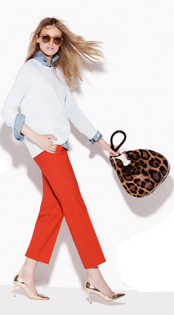 orange-slim-pants-blue-light-collared-shirt-white-sweater-tan-shoe-pumps-tan-bag-sun-howtowear-leopard-jcrew-spring-summer-blonde-lunch.jpg