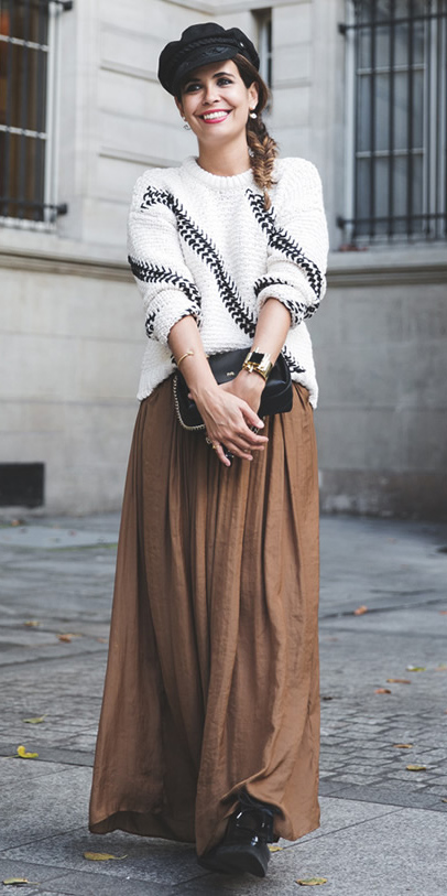 camel-maxi-skirt-white-sweater-hat-braid-studs-hairr-black-bag-black-shoe-booties-fall-winter-lunch.jpg