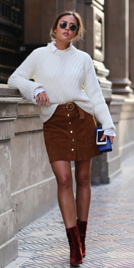 camel-mini-skirt-white-sweater-white-collared-shirt-hairr-sun-cognac-shoe-booties-fall-winter-lunch.jpg