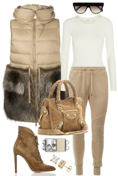 tan-joggers-pants-white-sweater-tan-vest-puffer-tan-vest-fur-fuzz-tan-shoe-booties-tan-bag-studs-sun-fall-winter-lunch.jpg