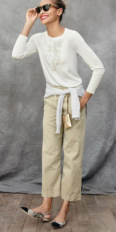 tan-chino-pants-white-sweater-bun-sun-white-shoe-flats-fall-winter-brun-work.jpg