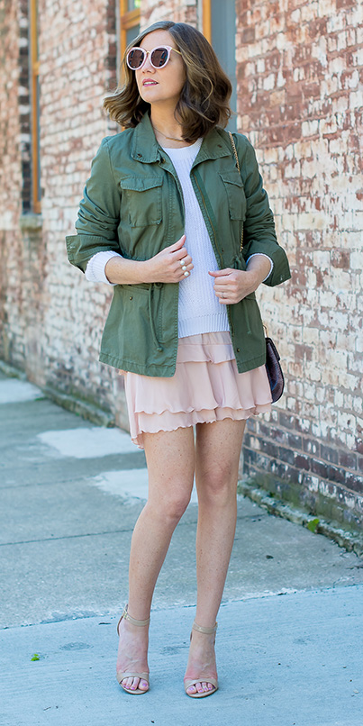 peach-mini-skirt-white-sweater-hairr-sun-green-olive-jacket-utility-tan-shoe-sandalh-spring-summer-lunch.jpg